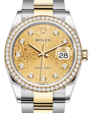 Rolex Datejust 36 Yellow Gold/Steel Champagne Jubilee Diamond Dial & Diamond Bezel Oyster Bracelet 126283RBR - BRAND NEW