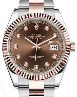 Rolex Datejust 41 Rose Gold/Steel Chocolate Diamond Dial Fluted Bezel Oyster Bracelet 126331 - BRAND NEW