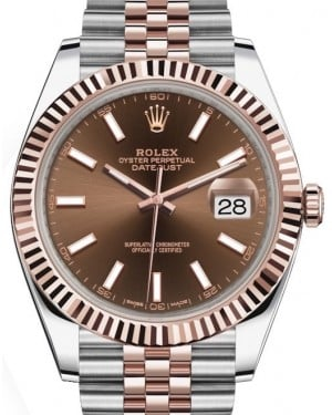 Rolex Datejust 41 Rose Gold/Steel Chocolate Index Dial Fluted Bezel Jubilee Bracelet 126331 - BRAND NEW
