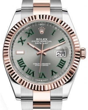 Rolex Datejust 41 Rose Gold/Steel Slate Roman Dial Fluted Bezel Oyster Bracelet 126331 - BRAND NEW