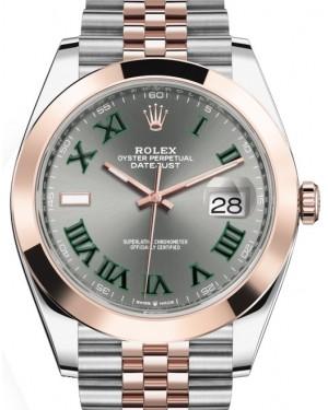 Rolex Datejust 41 Rose Gold/Steel Slate Roman Dial Smooth Bezel Jubilee Bracelet 126301 - BRAND NEW
