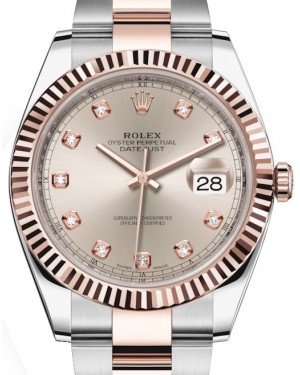 Rolex Datejust 41 Rose Gold/Steel Sundust Diamond Dial Fluted Bezel Oyster Bracelet 126331 - BRAND NEW