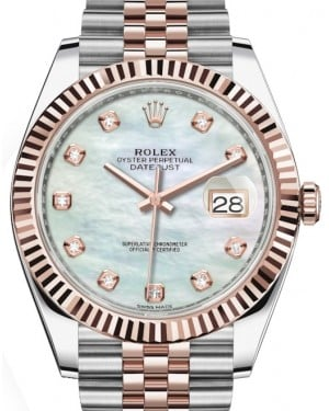 Rolex Datejust 41 Rose Gold/Steel White Mother of Pearl Diamond Dial Fluted Bezel Jubilee Bracelet 126331 - BRAND NEW