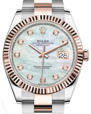 Rolex Datejust 41 Rose Gold/Steel White Mother of Pearl Diamond Dial Fluted Bezel Oyster Bracelet 126331 - BRAND NEW