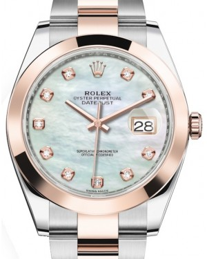 Rolex Datejust 41 Rose Gold/Steel White Mother of Pearl Diamond Dial Smooth Bezel Oyster Bracelet 126301 - BRAND NEW