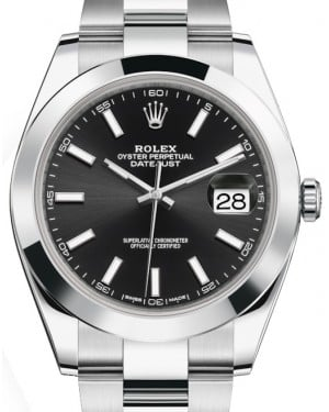 Rolex Datejust 41 Stainless Steel Black Index Dial Smooth Bezel Oyster Bracelet 126300 - BRAND NEW