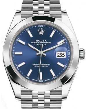 Rolex Datejust 41 Stainless Steel Blue Index Dial Smooth Bezel Jubilee Bracelet 126300 - BRAND NEW