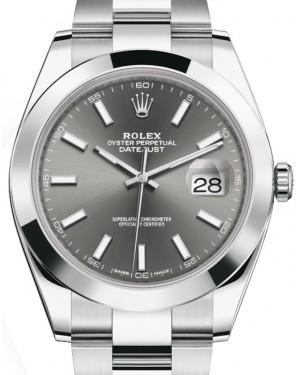 Rolex Datejust 41 Stainless Steel Dark Rhodium Index Dial Smooth Bezel Oyster Bracelet 126300 - BRAND NEW