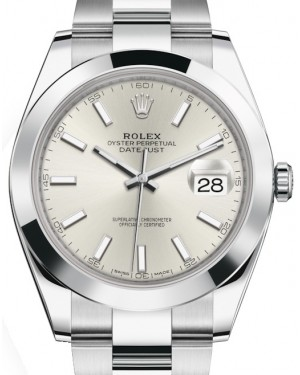 Rolex Datejust 41 Stainless Steel Silver Index Dial Smooth Bezel Oyster Bracelet 126300 - BRAND NEW