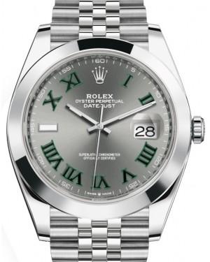 Rolex Datejust 41 Stainless Steel Slate Roman Dial Smooth Bezel Jubilee Bracelet 126300 - BRAND NEW