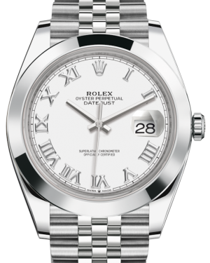 Rolex Datejust 41 Stainless Steel White Roman Dial Smooth Bezel Jubilee Bracelet 126300 - BRAND NEW