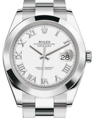 Rolex Datejust 41 Stainless Steel White Roman Dial Smooth Bezel Oyster Bracelet 126300 - BRAND NEW
