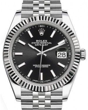 Rolex Datejust 41 White Gold/Steel Black Index Dial Fluted Bezel Jubilee Bracelet 126334 - BRAND NEW