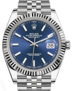 Rolex Datejust 41 White Gold/Steel Blue Index Dial Fluted Bezel Jubilee Bracelet 126334 - BRAND NEW
