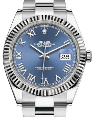Rolex Datejust 41 White Gold/Steel Blue Roman Dial Fluted Bezel Oyster Bracelet 126334 - BRAND NEW