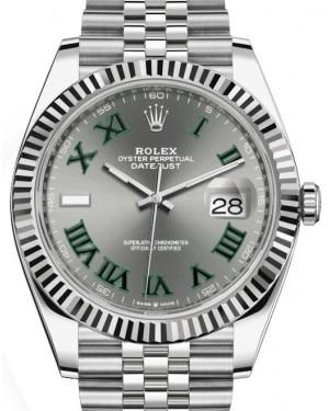 Rolex Datejust 41 White Gold/Steel Slate Roman Dial Fluted Bezel Jubilee Bracelet 126334 - BRAND NEW