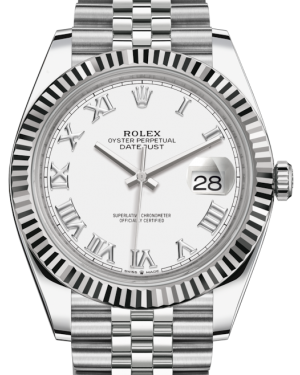 Rolex Datejust 41 White Gold/Steel White Roman Dial Fluted Bezel Jubilee Bracelet 126334 - BRAND NEW