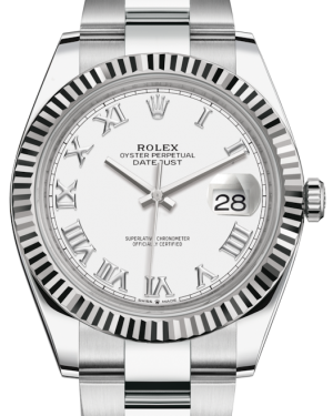 Rolex Datejust 41 White Gold/Steel White Roman Dial Fluted Bezel Oyster Bracelet 126334 - BRAND NEW