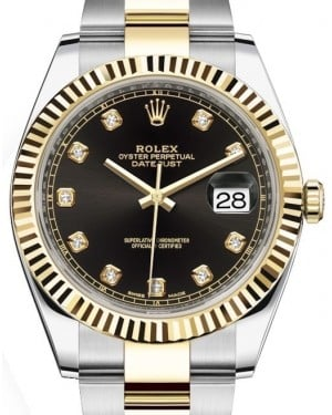 Rolex Datejust 41 Yellow Gold/Steel Black Diamond Dial Fluted Bezel Oyster Bracelet 126333 - BRAND NEW