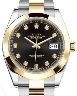 Rolex Datejust 41 Yellow Gold/Steel Black Diamond Dial Smooth Bezel Oyster Bracelet 126303 - BRAND NEW