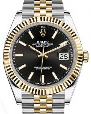 Rolex Datejust 41 Yellow Gold/Steel Black Index Dial Fluted Bezel Jubilee Bracelet 126333 - BRAND NEW