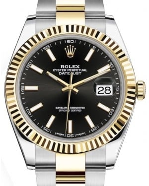 Rolex Datejust 41 Yellow Gold/Steel Black Index Dial Fluted Bezel Oyster Bracelet 126333 - BRAND NEW