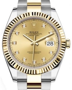 Rolex Datejust 41 Yellow Gold/Steel Champagne Diamond Dial Fluted Bezel Oyster Bracelet 126333 - BRAND NEW
