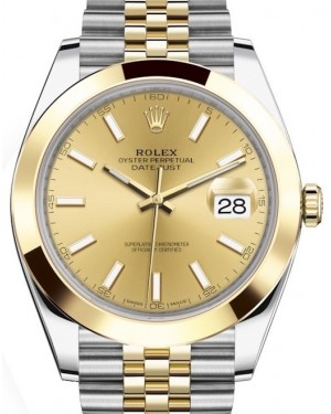 Rolex Datejust 41 Yellow Gold/Steel Champagne Index Dial Smooth Bezel Jubilee Bracelet 126303 - BRAND NEW