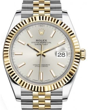 Rolex Datejust 41 Yellow Gold/Steel Silver Index Dial Fluted Bezel Jubilee Bracelet 126333 - BRAND NEW