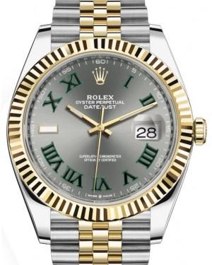 Rolex Datejust 41 Yellow Gold/Steel Slate Roman Dial Fluted Bezel Jubilee Bracelet 126333 - BRAND NEW