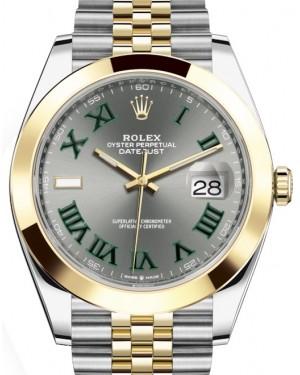 Rolex Datejust 41 Yellow Gold/Steel Slate Roman Dial Smooth Bezel Jubilee Bracelet 126303 - BRAND NEW