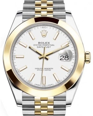 Rolex Datejust 41 Yellow Gold/Steel White Index Dial Smooth Bezel Jubilee Bracelet 126303 - BRAND NEW