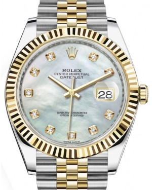 Rolex Datejust 41 Yellow Gold/Steel White Mother of Pearl Diamond Dial Fluted Bezel Jubilee Bracelet 126333 - BRAND NEW