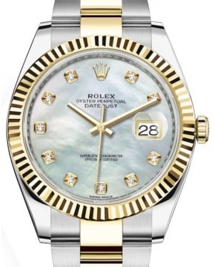 Rolex Datejust 41 Yellow Gold/Steel White Mother of Pearl Diamond Dial Fluted Bezel Oyster Bracelet 126333 - BRAND NEW