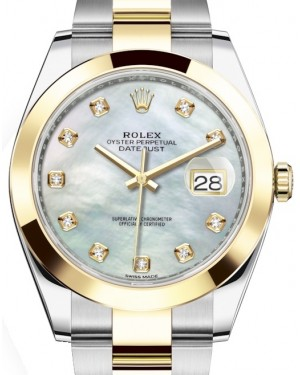 Rolex Datejust 41 Yellow Gold/Steel White Mother of Pearl Diamond Dial Smooth Bezel Oyster Bracelet 126303 - BRAND NEW