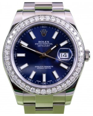 Rolex Datejust II 116300 Index Blue Diamond Bezel 41mm Stainless Steel BRAND NEW