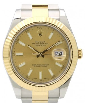 Rolex Datejust II Yellow Gold/Steel Champagne Dial Fluted Yellow Gold Bezel Oyster Bracelet 116333 - PRE-OWNED