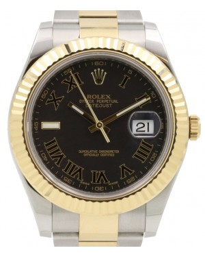 Rolex Datejust II Yellow Gold & Steel Black Roman Dial with Index 9 o' Clock Two-Tone Oyster Bracelet 116333 - PRE-OWNED