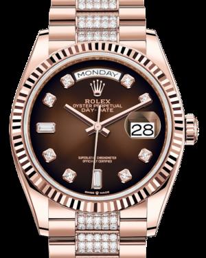 Rolex Day-Date 36 Rose Gold Brown Ombre Diamond Dial & Fluted Bezel Diamond Set President Bracelet 128235 - BRAND NEW