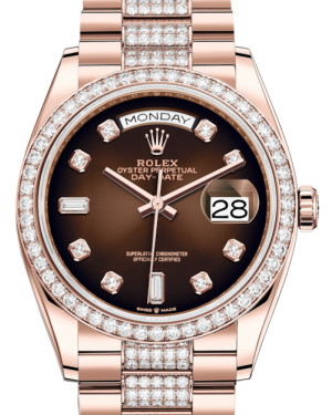 Rolex Day-Date 36 Rose Gold Brown Ombre Diamond Dial & Diamond Bezel Diamond Set President Bracelet 128235RBR - BRAND NEW