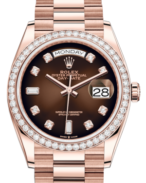 Rolex Day-Date 36 Rose Gold Brown Ombre Diamond Dial & Diamond Bezel President Bracelet 128235RBR - BRAND NEW