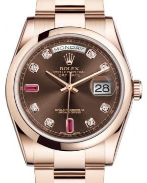 Rolex Day-Date 36 Rose Gold Chocolate Diamond & Rubies Dial & Smooth Domed Bezel Oyster Bracelet 118205 - BRAND NEW