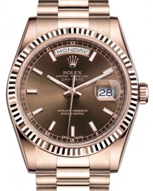 Rolex Day-Date 36 Rose Gold Chocolate Index Dial & Fluted Bezel President Bracelet 118235 - BRAND NEW