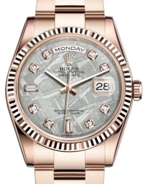 Rolex Day-Date 36 Rose Gold Meteorite Diamond Dial & Fluted Bezel Oyster Bracelet 118235 - BRAND NEW