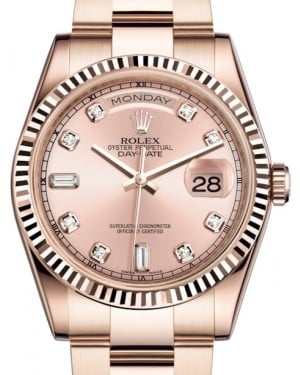 Rolex Day-Date 36 Rose Gold Pink Diamond Dial & Fluted Bezel Oyster Bracelet 118235 - BRAND NEW