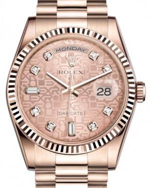 Rolex Day-Date 36 Rose Gold Pink Jubilee Diamond Dial & Fluted Bezel President Bracelet 118235 - BRAND NEW