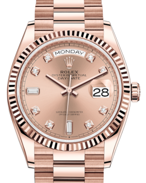 Rolex Day-Date 36 Rose Gold Rose Diamond Dial & Fluted Bezel President Bracelet 128235 - BRAND NEW