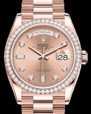 Rolex Day-Date 36 Rose Gold Rose Diamond Dial & Diamond Bezel President Bracelet 128235RBR - BRAND NEW