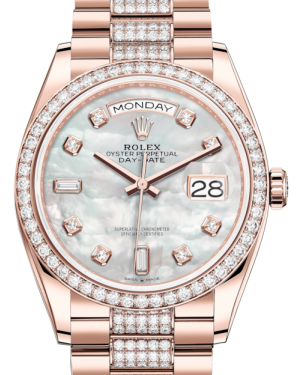 Rolex Day-Date 36 Rose Gold White Mother of Pearl Diamond Dial & Diamond Bezel Diamond Set President Bracelet 128235RBR - BRAND NEW