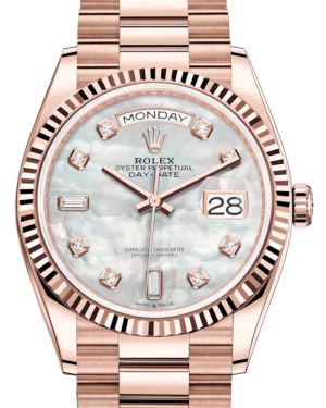 Rolex Day-Date 36 Rose Gold White Mother of Pearl Diamond Dial & Fluted Bezel President Bracelet 128235 - BRAND NEW